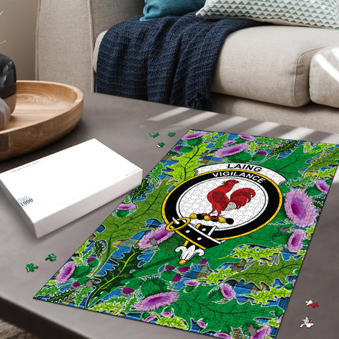 Image of Laing Clan Crest Tartan Thistle Pattern Scotland Jigsaw Puzzle