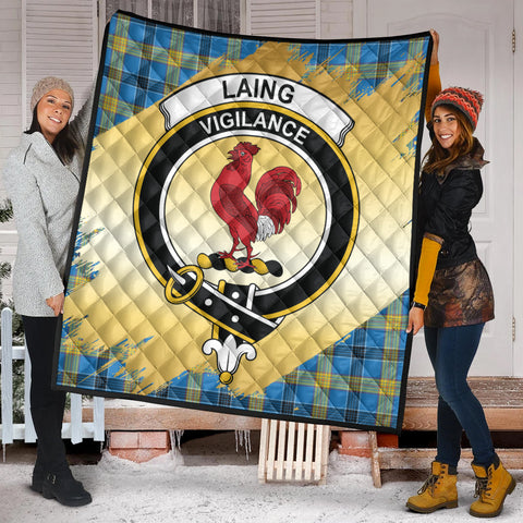 Image of Laing Clan Crest Tartan Scotland Gold Royal Premium Quilt K9