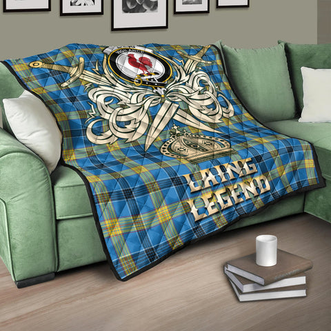 Laing Clan Crest Tartan Scotland Clan Legend Gold Royal Premium Quilt K9