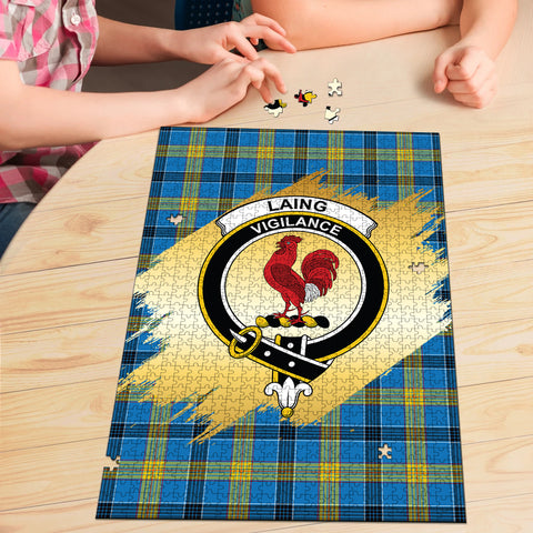 Laing Clan Crest Tartan Jigsaw Puzzle Gold