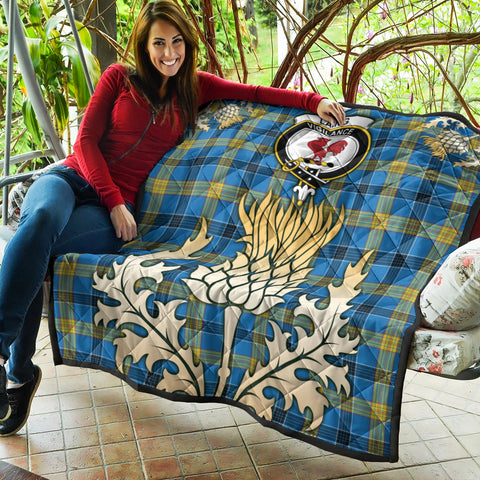 Laing Clan Crest Tartan Scotland Thistle Gold Royal Premium Quilt K9