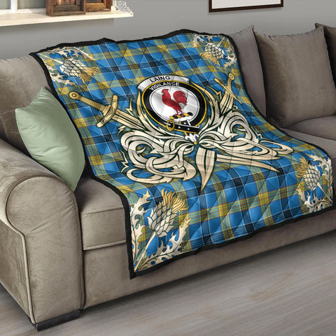 Image of Laing Clan Crest Tartan Scotland Thistle Symbol Gold Royal Premium Quilt K9