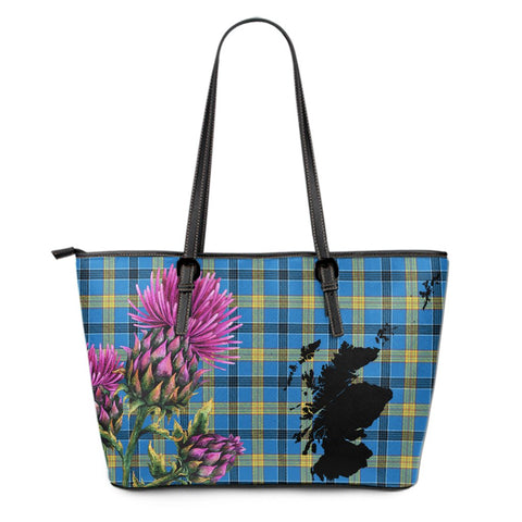 Laing Tartan Leather Tote Bag Thistle Scotland Maps A91