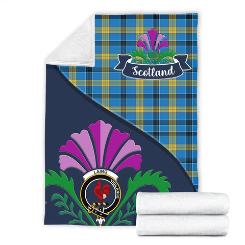 Image of Laing Crest Tartan Blanket Scotland Thistle A30