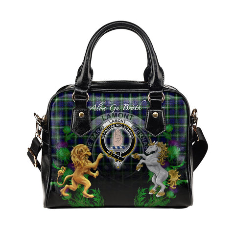 Lamont Modern Crest Tartan Lion Unicorn Thistle Shoulder Handbag