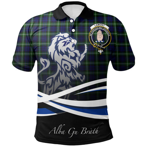 Image of Lamont Modern Polo Shirts Tartan Crest Scotland Lion A30