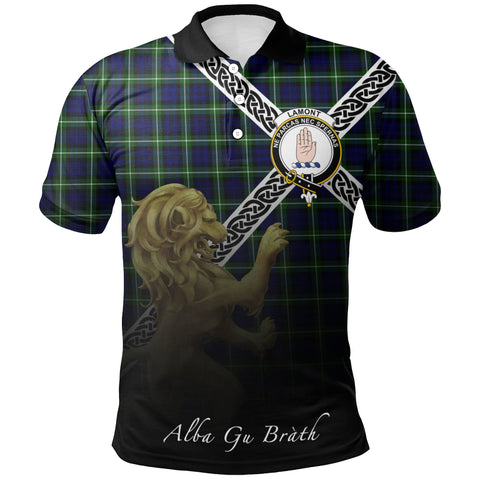 Lamont Modern Polo Shirts Tartan Crest Celtic Scotland Lion A30