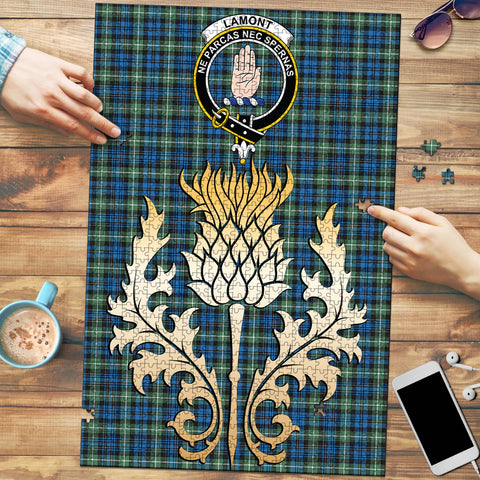 Lamont Ancient Clan Crest Tartan Thistle Gold Jigsaw Puzzle