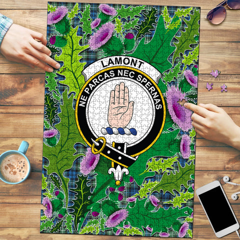 Image of Lamont Ancient Clan Crest Tartan Thistle Pattern Scotland Jigsaw Puzzle