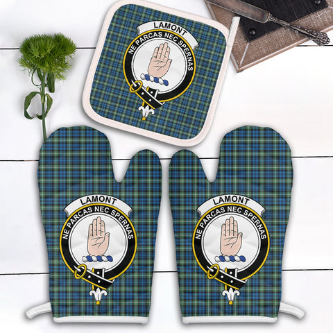 Lamont Ancient Clan Crest Tartan Scotland Oven Mitt And Pot-Holder (Set Of Two)