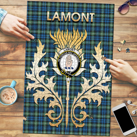 Image of Lamont Ancient Clan Name Crest Tartan Thistle Scotland Jigsaw Puzzle