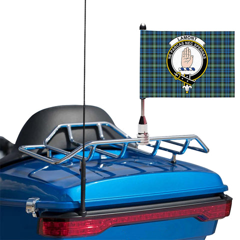 Image of Lamont Ancient Clan Crest Tartan Motorcycle Flag