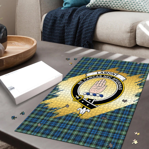 Image of Lamont Ancient Clan Crest Tartan Jigsaw Puzzle Gold