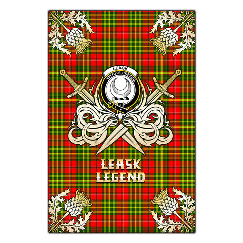 Garden Flag Leask Clan Crest Golf Courage  Gold Thistle