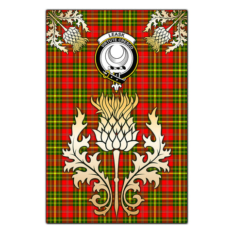 Garden Flag Leask Clan Crest Gold Thistle