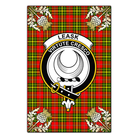 Garden Flag Leask Clan Crest Gold Thistle New