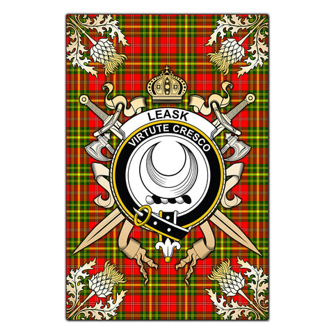 Garden Flag Leask Clan Crest Sword Gold Thistle