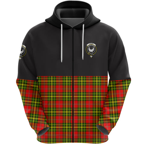 Leask Clan Zip Hoodie Half of Tartan