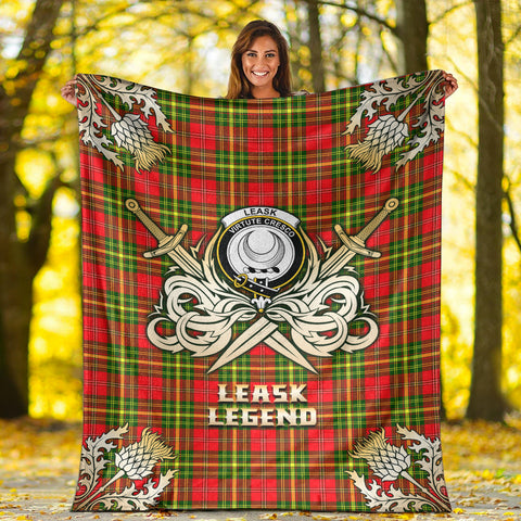 Premium Blanket Leask Clan Crest Gold Courage Symbol