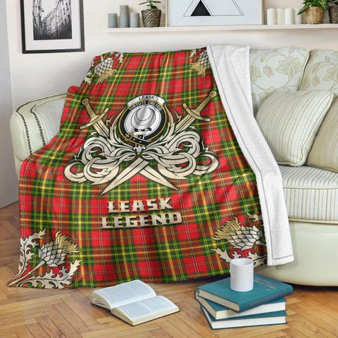 Image of Premium Blanket Leask Clan Crest Gold Courage Symbol