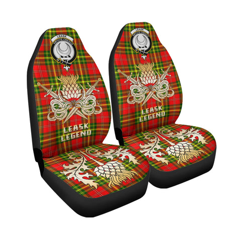 Image of Car Seat Cover Leask Clan Crest Gold Thistle Courage Symbol K9