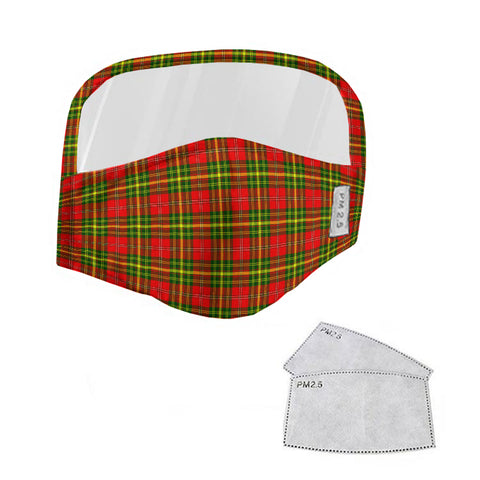 Leask Tartan Face Mask With Eyes Shield - Red & Yellow  Plaid Mask TH8