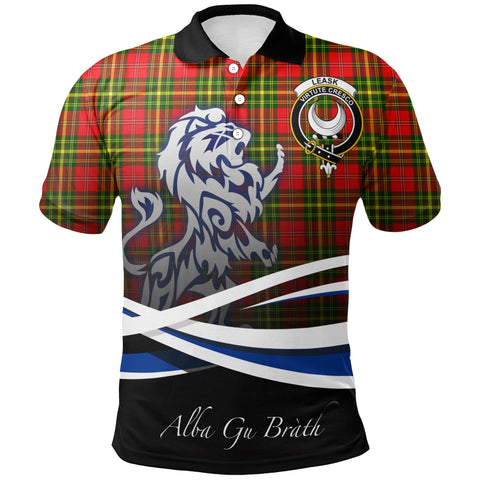 Leask Polo Shirts Tartan Crest Scotland Lion A30