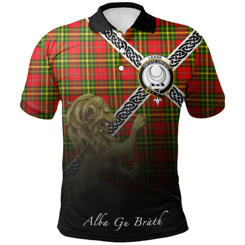 Leask Polo Shirts Tartan Crest Celtic Scotland Lion A30