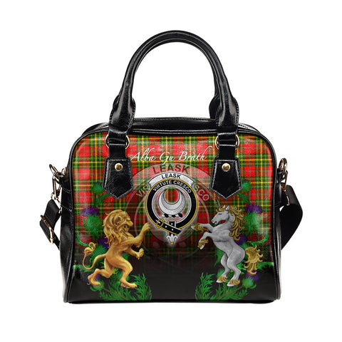 Image of Leask Crest Tartan Lion Unicorn Thistle Shoulder Handbag