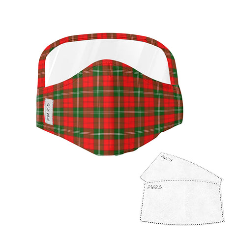 Lennox Modern Tartan Face Mask With Eyes Shield - Red & Green  Plaid Mask TH8