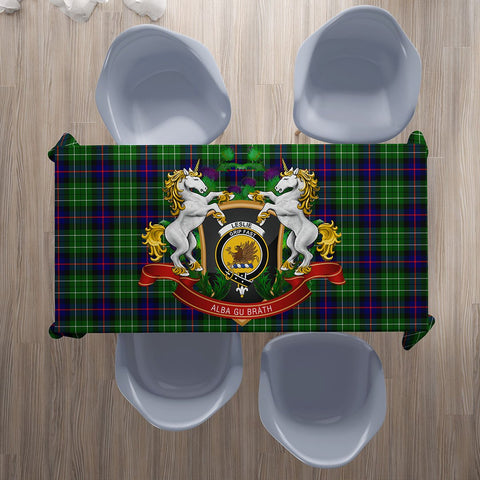 Leslie Hunting Crest Tartan Tablecloth Unicorn Thistle | Home Decor