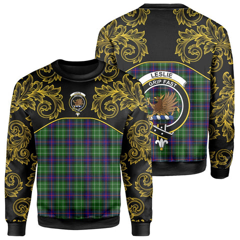 Image of Leslie Hunting Tartan Clan Crest Sweatshirt - Empire I - HJT4