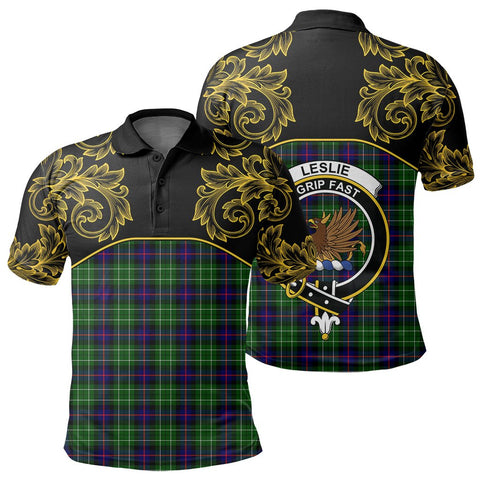 Leslie Hunting Tartan Clan Crest Polo Shirt - Empire I - HJT4