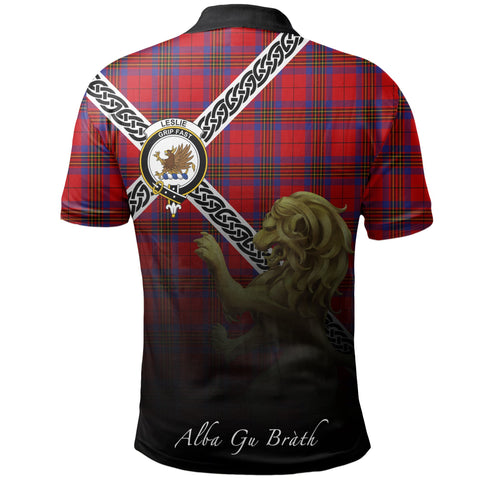 Image of Leslie Modern Polo Shirts Tartan Crest Celtic Scotland Lion A30
