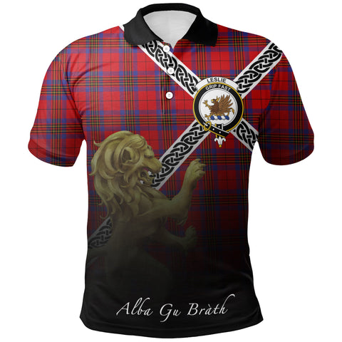 Leslie Modern Polo Shirts Tartan Crest Celtic Scotland Lion A30
