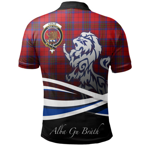Image of Leslie Modern Polo Shirts Tartan Crest Scotland Lion A30