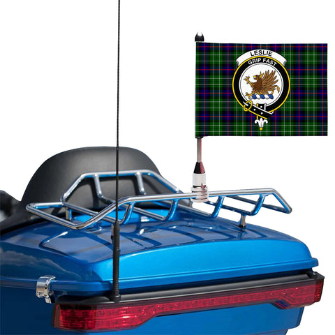 Leslie Hunting Clan Crest Tartan Motorcycle Flag