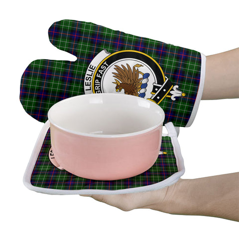 Leslie Hunting Clan Crest Tartan Scotland Oven Mitt And Pot-Holder (Set Of Two)