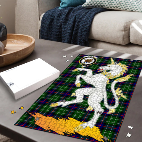Image of Leslie Hunting Clan Crest Tartan Unicorn Scotland Jigsaw Puzzle