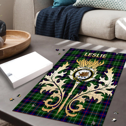 Image of Leslie Hunting Clan Name Crest Tartan Thistle Scotland Jigsaw Puzzle
