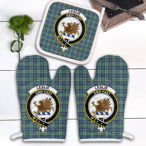 Leslie Hunting Ancient Clan Crest Tartan Scotland Oven Mitt And Pot-Holder (Set Of Two)