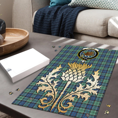 Leslie Hunting Ancient Clan Crest Tartan Thistle Gold Jigsaw Puzzle
