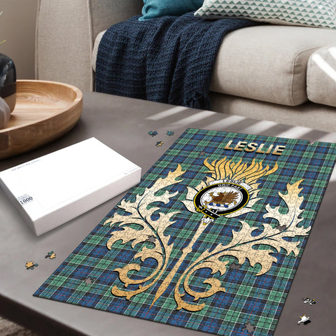 Leslie Hunting Ancient Clan Name Crest Tartan Thistle Scotland Jigsaw Puzzle