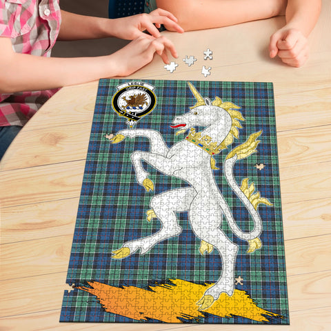 Image of Leslie Hunting Ancient Clan Crest Tartan Unicorn Scotland Jigsaw Puzzle