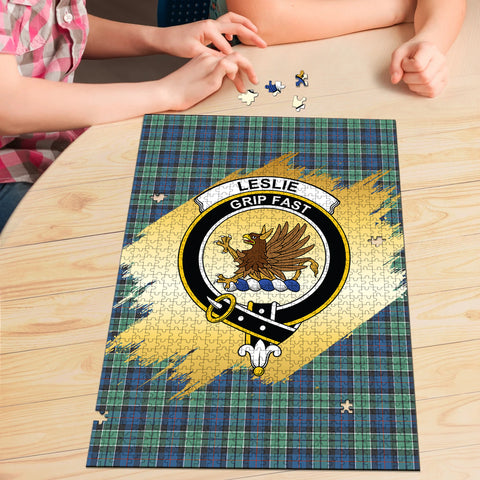 Leslie Hunting Ancient Clan Crest Tartan Jigsaw Puzzle Gold