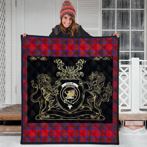 Image of Leslie Modern Clan Royal Lion and Horse Premium Quilt