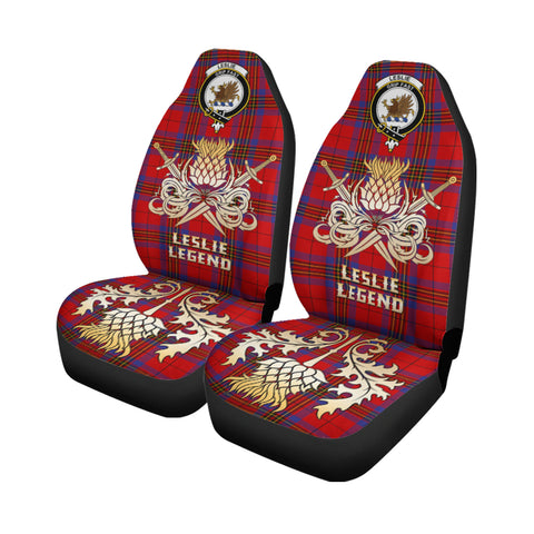 Car Seat Cover Leslie Modern Clan Crest Gold Thistle Courage Symbol K9