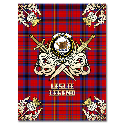 Image of Premium Blanket Leslie Modern Clan Crest Gold Courage Symbol