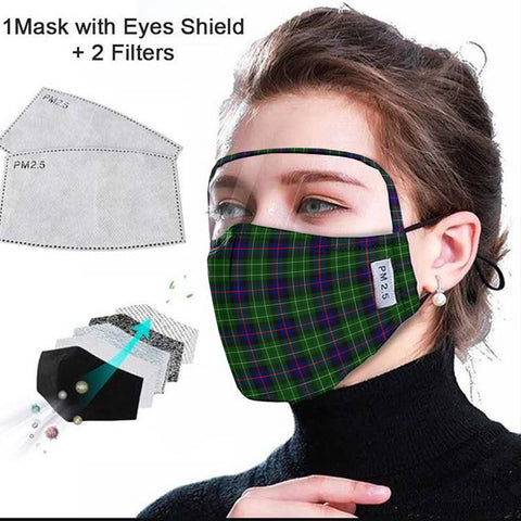 Leslie Hunting Tartan Face Mask With Eyes Shield - Green & Blue  Plaid Mask TH8