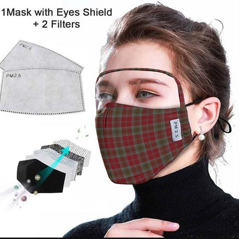 Lindsay Weathered Tartan Face Mask With Eyes Shield - Red & Brown  Plaid Mask TH8